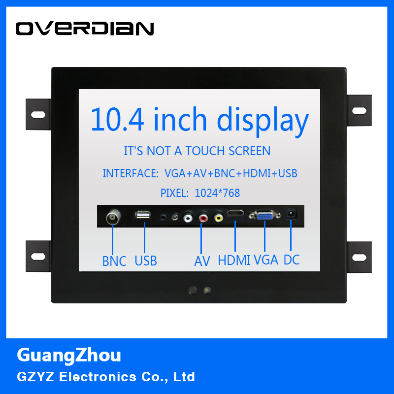 10.4/10VGA/HDMI/BNC/AV/USB interface Non-touch Screen Industrial Machines Metal Shell Embedded Lcd Monitor1024*768 Hanger Fixed конвертор bnc vga каркам