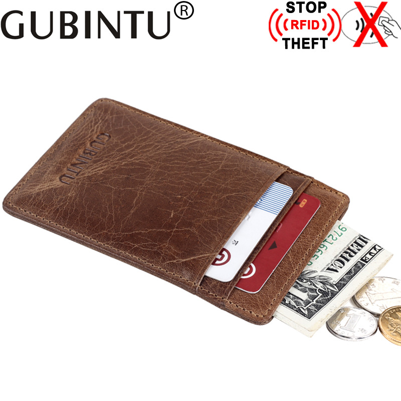 GUBINTU Vintage Men Wallets Genuine Leather Short Purses Multi-Card Bit Thin Male Wallet Coin Purse Soft Solid Holders Wallet