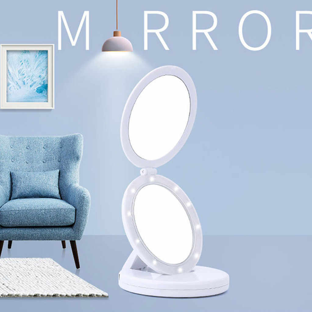 Double-Sided led espelho Iluminado Vaidade Dobrável 1X/5X beleza espelho de Maquilhagem iluminado maquiagem make up bolso mesa espelho #68
