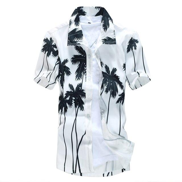 2016 Summer New Coco Print White Shirt Men Plus Size Quick Dry Fancy Shirts Men
