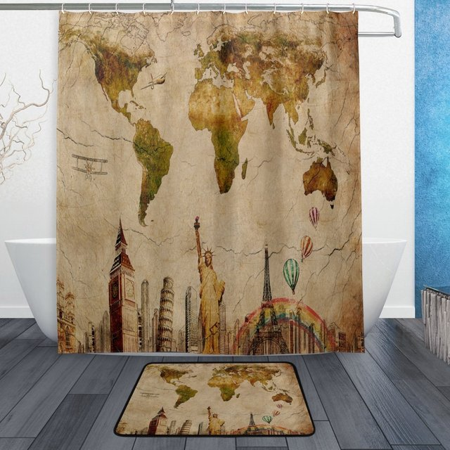 Vintage world map shower curtain and mat set retro new york city vintage world map shower curtain and mat set retro new york city landmark waterproof fabric gumiabroncs Gallery