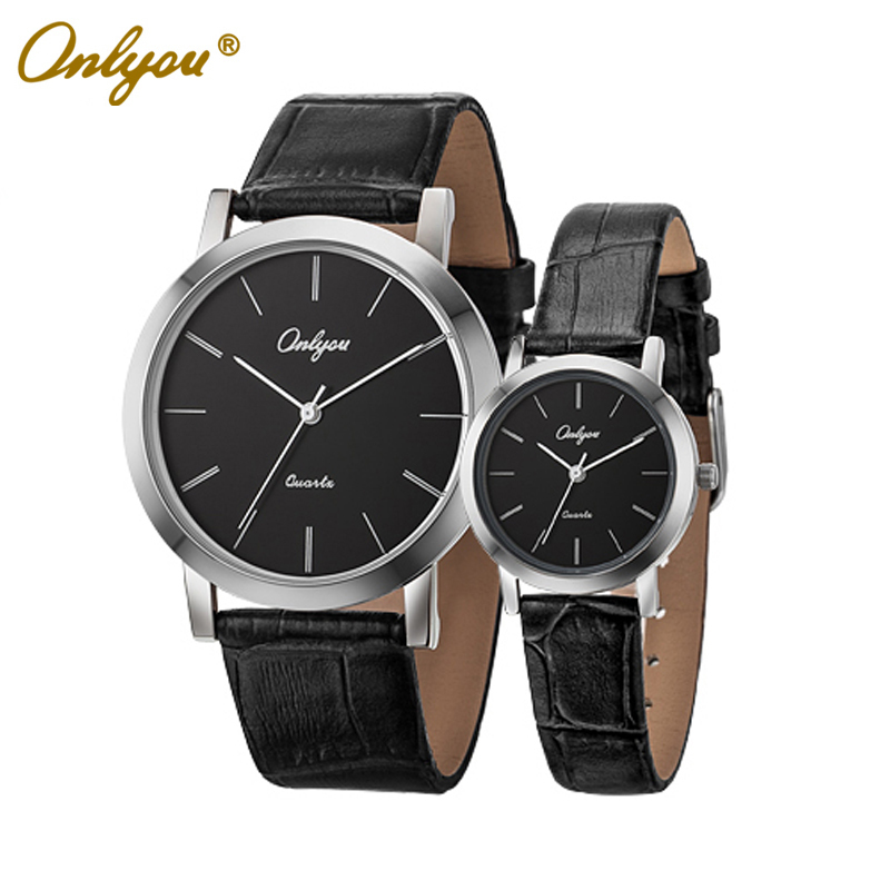 ФОТО Onlyou Brand Lovers Watch Fashion Casual Women's Men's Leather Watch Wristwatches Rose Gold Black Male Female Watch 8869