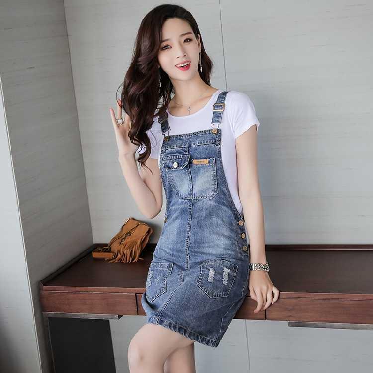 e56de08d5029391 ... 2019 летнее Новое Женское повседневное джинсовое платье, сарафан,  тонкие ремни-подтяжки, мини ...