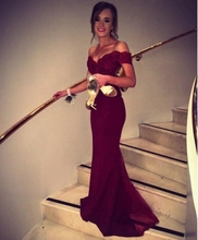 Cheap Burgundy mermaid prom dress off the shoulder lace appliques evening dress backless party gown robe de soiree