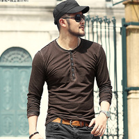 Autumn Winter Washed Retro Men's Slim Casual Henry Collar Long sleeve T shirt Men Vintage Cotton European Style Top Tees T959