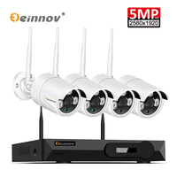 Einnov 5MP 4CH Cameras Kit Of Wifi Security CCTV H.265 Video Surveillance System Outdoor Wireless NVR IR Camera Light Hard Disk