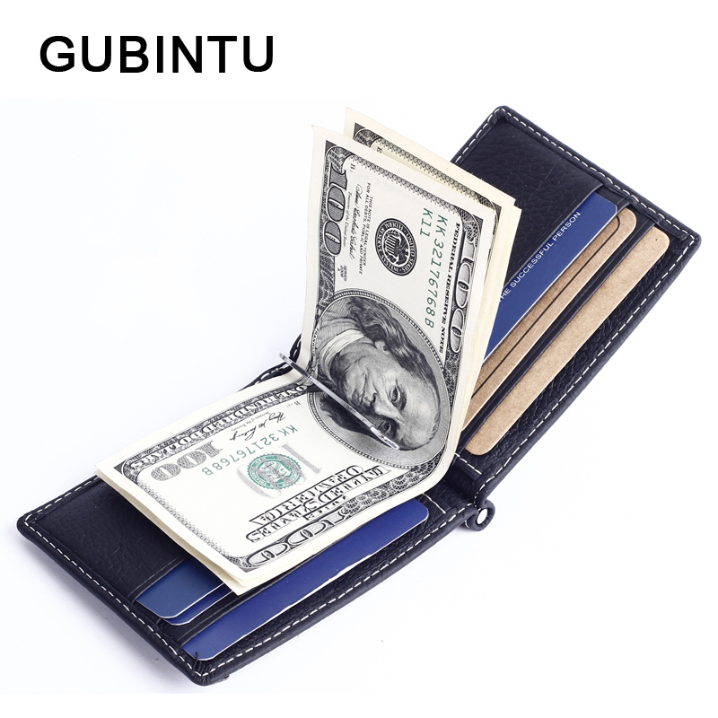 GUBINTU Solid Slim Money Clips Genuine Leather Male Purses Short Men Wallets Zipper Coin Pocket Men Clutch Bags Brand Wallet blevolo high capacity men wallets male long purses zipper leather money clips business clutch bags coin pocket wallet for men
