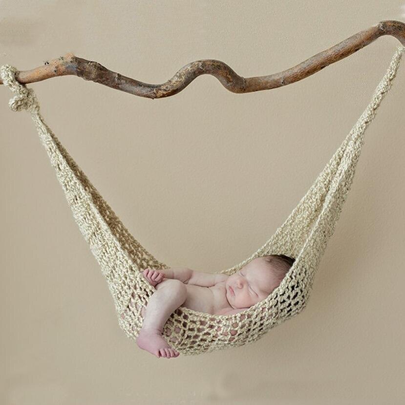 Kinder Fotografie Kleidung Baby Fotografie Prop Wolle Handgefertigte Stricken Haken String Tasche Hängematte Newborn Foto Requisiten