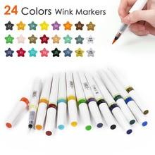 12/24 색상 반짝이 마커 펜 세트 스케치 마커 브러쉬 펜 16CM 윙크 스파클 샤인 드로잉 아트 마커 페인팅 도구
