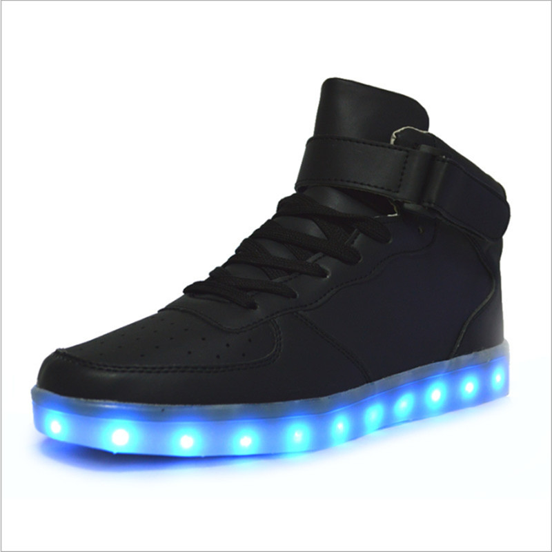 ФОТО High quality 7 Colors LED Luminous Men high top casual shoes LED Shoes For Adults USB Charging Lights Shoes Black White