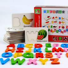Free shipping Wooden font b Toys b font Fruits and vegetables English alphabet identification Blocks Cognitive