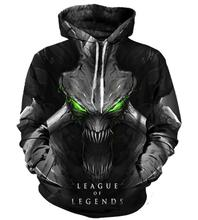 Hoodie Sweatshirt 3d Print Hoodies League of Legends Men Women Autumn Loose Thin Skull 3D Sweatshirts Mens Pullover Lovers Gift