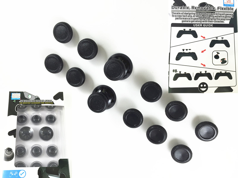 14 in 1 Enhanced Black Thumbsticks Thumb Stick Joystick Caps Covers Custom for Sony PS4 Playstation PS4 Slim Pro Controller