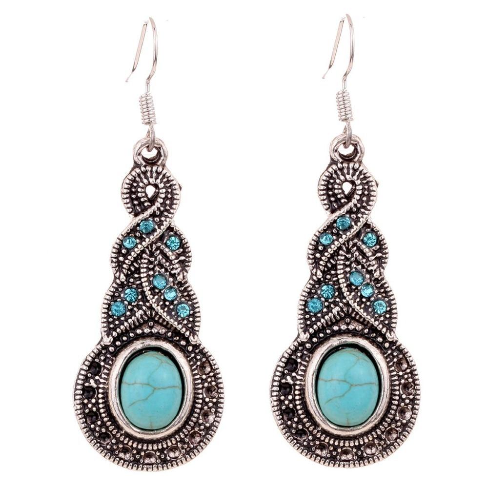 Yazilind Vintage Tibetan Silver Blue Oval Turquoise Hollow Out Dangle Drop Hook Earrings Women Gift 5uXYv