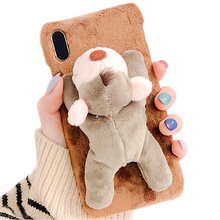 For Phone XR Case, Handmade 3D Doll Plush Toy Super Cute Animal Unique Design Rabbit Fur Soft Feel Protective Case Cover