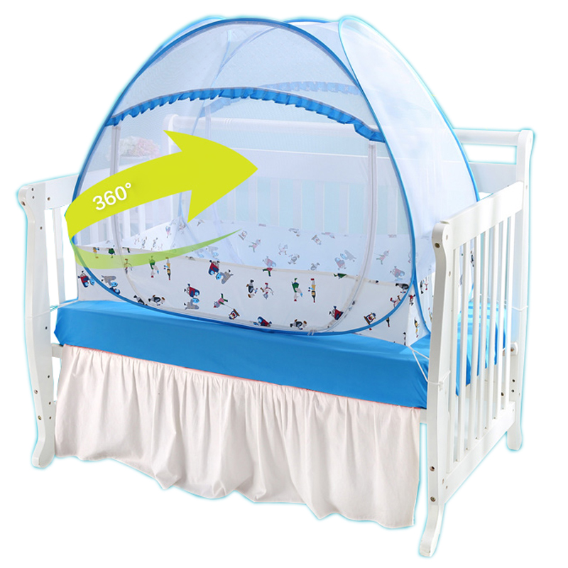 Blue Pink Travel Folding Crib Netting Tent No-installation Baby Bed Mosquito Net All-around Protection Cartoon Baby Bed Canopy pink portable baby infants insect netting mosquito mesh baby cradle canopy bed mosquito nets summer baby bed crib mosquito tent