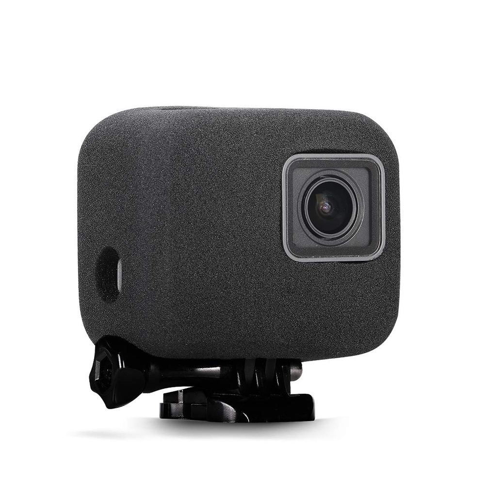 إسفنج لزجاج الزجاج الأمامي حافظة لهاتف GoPro Hero 5/6/7 2018 إسفنج لكاميرا سوداء لحماية غطاء مضاد للرياح والحد من الضوضاء