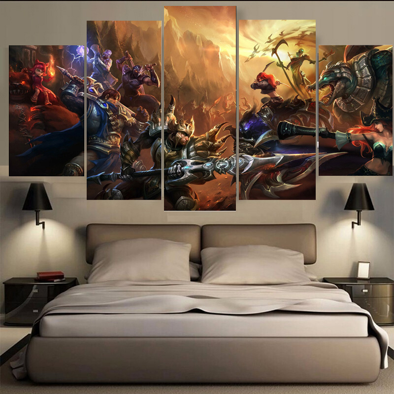 Unframed 5 Pieces One Set Game Figure Bedroom Painting Wall Art Home Decoration Canvas Paintings