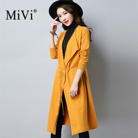 Mivi Famous Brand Women Long Cardigan Spring Autumn Irregular Knitted Sweater Lace Up Female Coat Loose