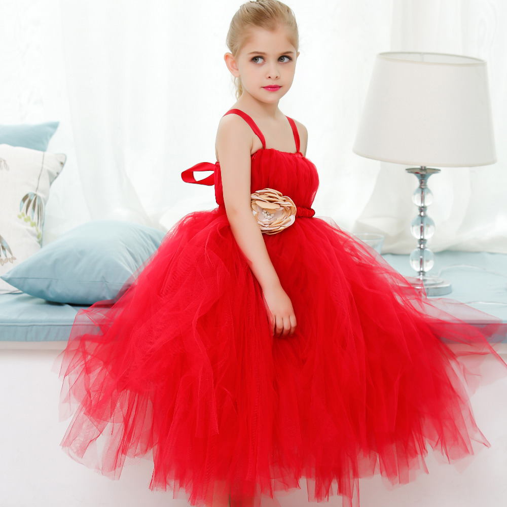Customized Red Flower Girl Pageant Tutu Dress Child Kids Elegant Fluffy Wedding Party Tutu Dresses for Princess Birthday Photos summer princess wedding bridesmaid flower girl dress for child wear kids clothes white party tutu dresses for girl 3 12y