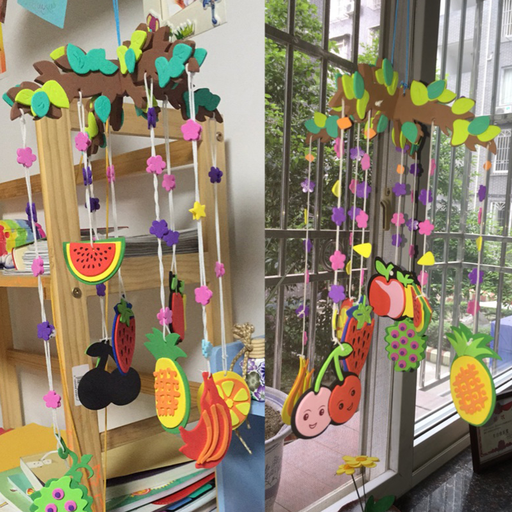 Cartoon Kids DIY Handcraft Wind Chime Lovely Fruit Ocean Animals Pendant Educational Puzzle Toy Handwork Craft Windbell