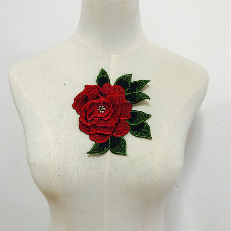 Rose Flower Iron on Sew Collar Patch Cute Applique Badge Embroidered Bust Dress.