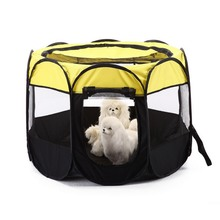 Folding Pet Tent Dog House Cage Cat Portable Playpen Puppy Kennel Easy Operation Octagonal Fence Outdoor Supplies