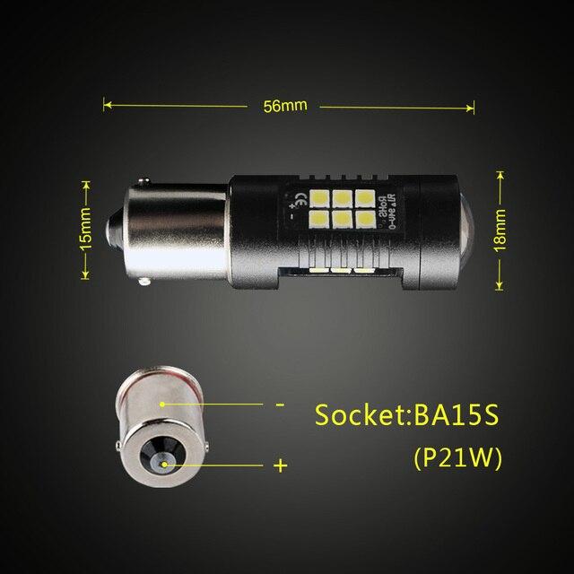 2 pcs P21W LED 1156 BA15S LED Ampoules De Voiture Lumières 1200Lm Tourner Signal N ° Lumière De Frein R5W 3030 Led 12 V 24 V Automobiles Lampe D040