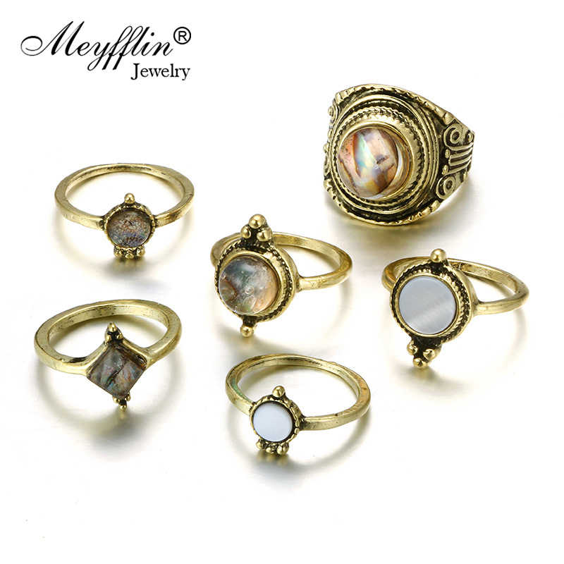 Meyfflin 6 Pcs 2019 New Rings for Women Vintage Stone Droplets Knuckles Rings Set Jewelry Boho Bronze AnillosParty Bague Femne