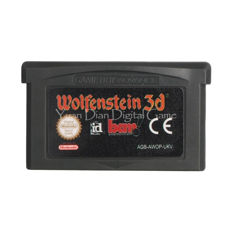 Nintendo gba consola de videojuego cartucho tarjeta wolfenstein 3d idioma inglés