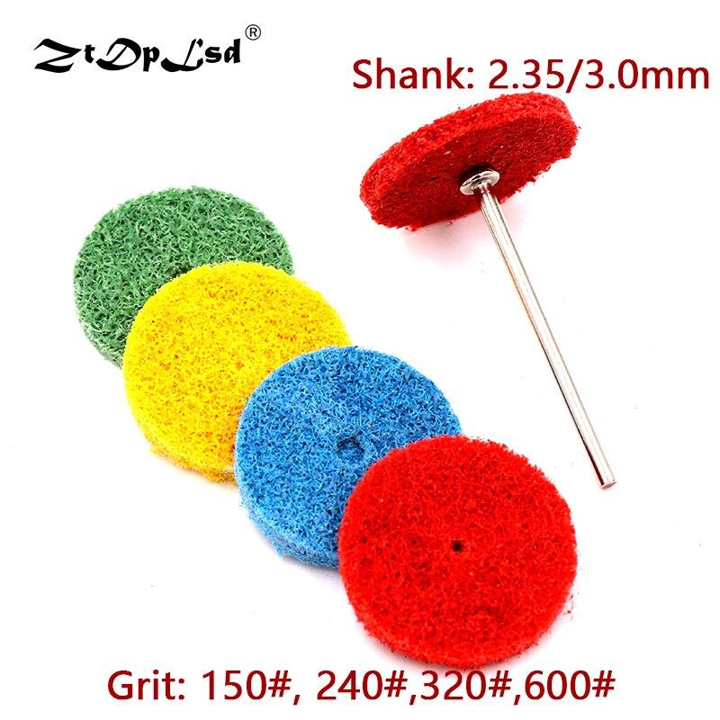 1Pcs 2.35/3mm Shank Fiber Grinding Head Nylon Wheel Pad Abrasive Tip With Rod Mini Brush Sanding Buffing Polishing Tools