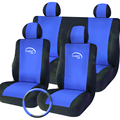 TIROL T16795 Universal Car Seat Covers 9Pieces Blue Color Front & Rear Complete Set For Crossovers SUV Sedans Free Shipping