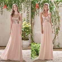 New Rose Gold Bridesmaid Dresses A Line Spaghetti Backless Sequins Chiffon  Long Beach Wedding Gust Dress vestido de festa 958e39afd5e0