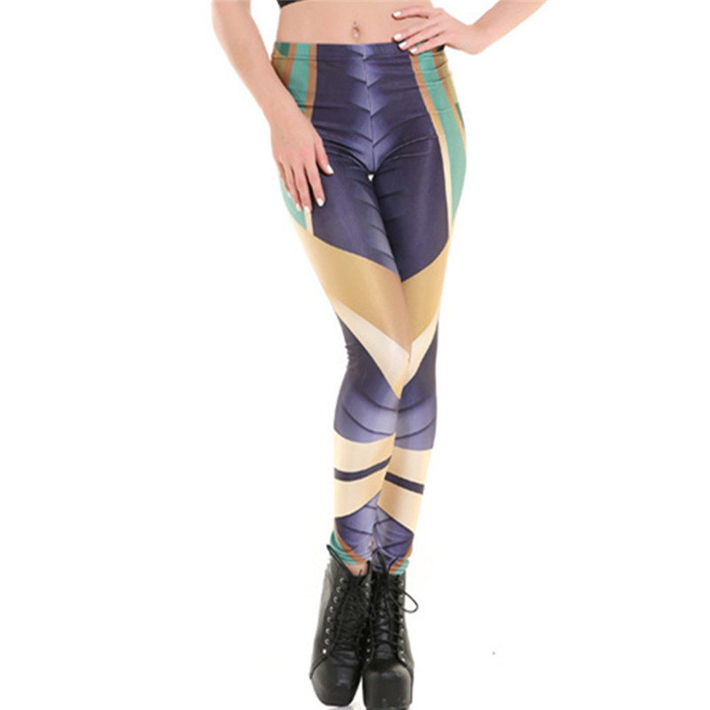 DOUBCHOW Womens Stretchy Digital 3D Printed Leggings 2017 Costume Cosplay Teenagers Girls Shiny Pants Armour Rhombus