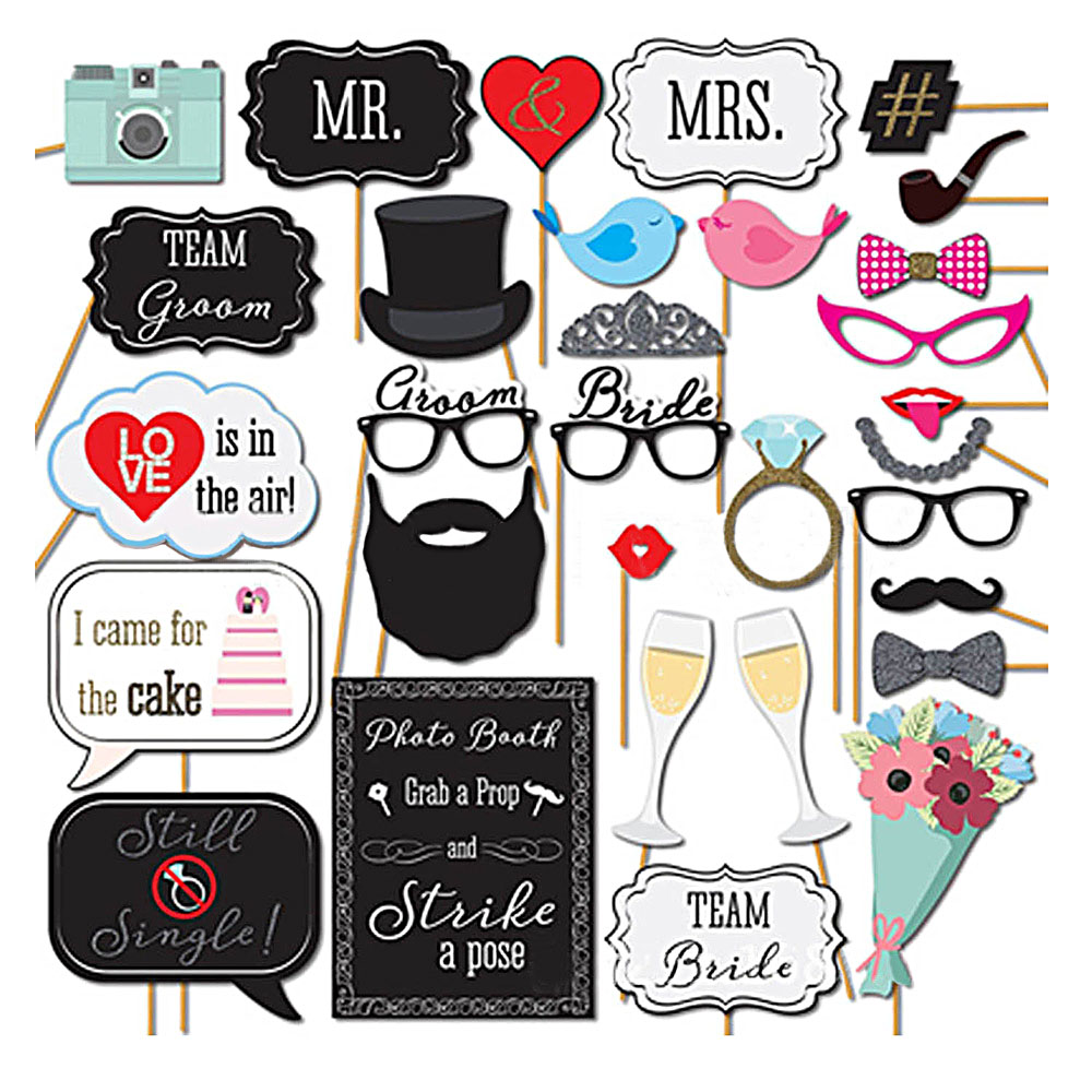 58 pcs diy photography photo booth props kit for wedding birthdays 31 pcs funny wedding photo booth props kit photobooth prop card for wedding valentine birthday party solutioingenieria Image collections