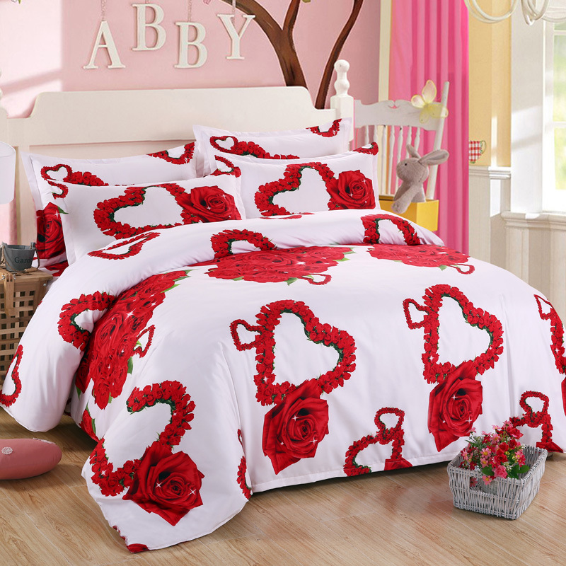 New 3d Red Love Bedding Set Romantic Wedding Valentines Gift for Her 4pcs Include Duvet Cover