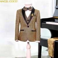 Children'S Boy Suits Blazers Glittering Suits Wedding In The Big Child Flower Girl British Dress Bling Jacket Garcon Clothing