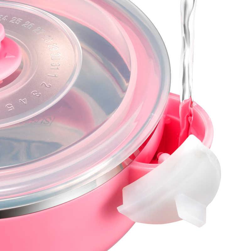 Bacia de Alimentação do bebê com Sucção VALUEDER Stianless Aço 300 ml vazamento Não-Isolado e Selado Tigela Bebê com Transparente tampas