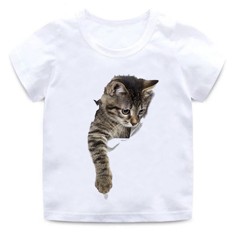 Children's Funny 3D Cat T-shirt Boy Girl Animal Short-sleeved Round Neck Cotton Soft T-shirt Quality White Casual T-shirt