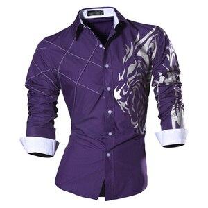 Image 5 - Jeansian 남자 패션 드레스 셔츠 캐주얼 긴 소매 슬림 맞는 Tatoo 세련 된 Z030