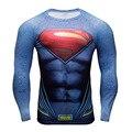 Superhero Superman Super Elastic Manga Comprida 3D Camiseta Camisa Dos Homens de Fitness Exercício Skintight Fino Encabeça Camisa Bicicleta