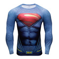 Superman Super Elastic Long Sleeve 3D Superhero T Shirt Slim Fitness Shirt Men Exercise  Skintight Tops Bicycle Jersey