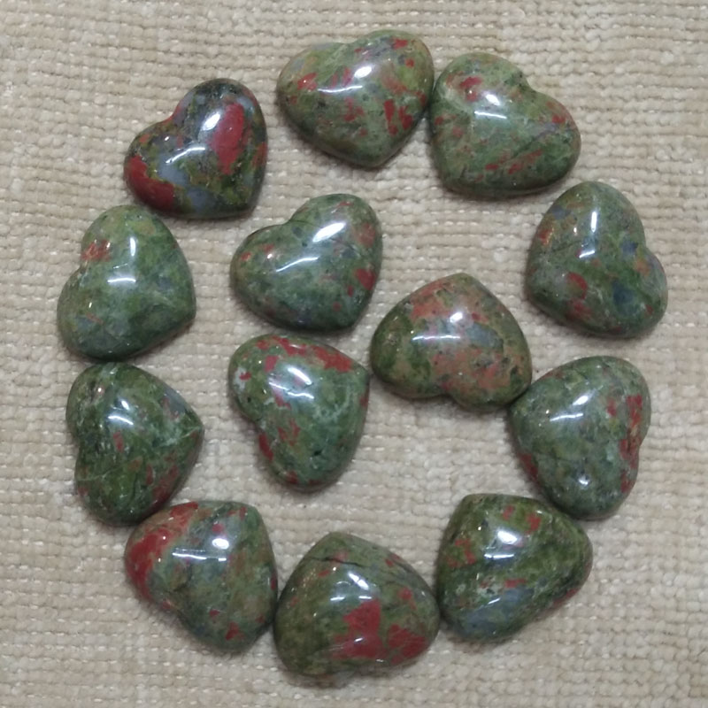 Wholesale 30pcs/lot 2016 good quality natural flower green stone heart cab cabochons beads for jewelry making 15x18mm free