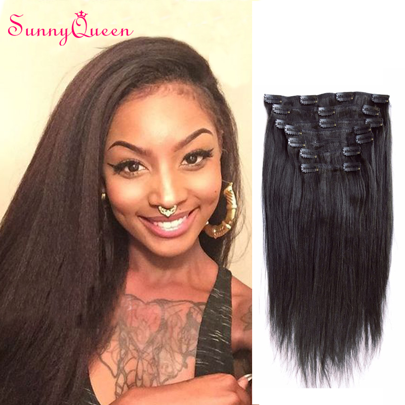 7A Yaki Straight Clip In Human Hair Extensions Brazilian Virgin Hair Coarse Yaki Clip In Hair Extensions Italian Yaki Clip Ins