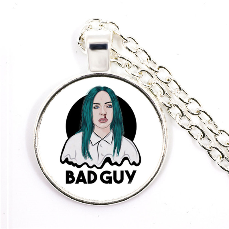 Popular Young Singer Billie Eilish Necklace Art Picture Hip-hop Music 25mm Glass Cabochon Pendant Jewelry For Music Fans Gift 2