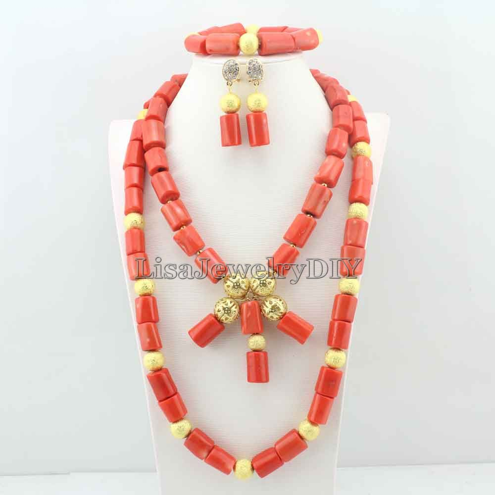 Elegant African Costume Jewellry Nigerian Wedding Bridal Beads Coral Jewelry African Jewelry Free Shipping HD5550