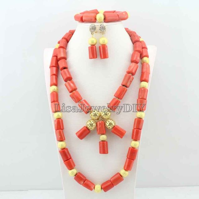 Elegant African Costume Jewellry Nigerian Wedding Bridal Beads Coral