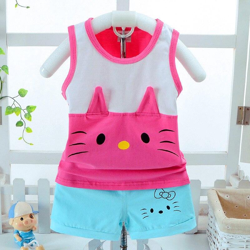 2018 Ny spädbarns flickvänkläder Set sommarbomulls tecknadstryck - Babykläder
