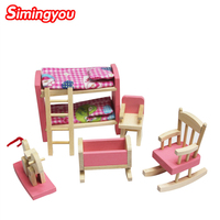 Simingyou Một Chiếc Giường Cho Búp Bê Nội Thất Phòng Tắm Bunk Bed Gỗ Nhà Miniature Gỗ Đồ Chơi Trẻ Em Trẻ Em Chơi Đồ Chơi C20 DropShipping