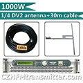 Fmuser 1000 W transmissor Fm 1KW + 1/4 onda DV2 alto ganho antena + 30 metros de tubo de alimentação de cabo RF